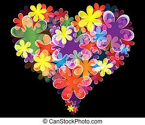 Floral heart on black background