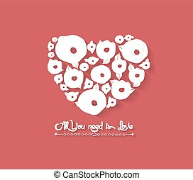 Floral Heart on Red Background