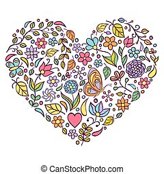 floral heart on white  background.