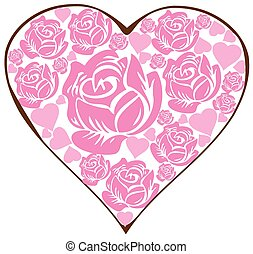 floral heart pink