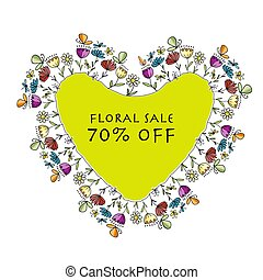 Floral heart shape, banner for your design