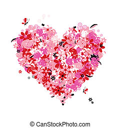 Floral heart shape, love