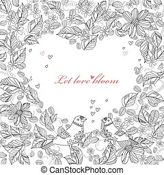 floral heart shape with couple of cute birds for your coloring b