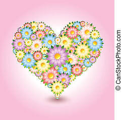 Floral heart made of flowers isolated on pink background