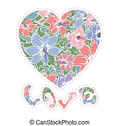 Floral heart, vector illustration