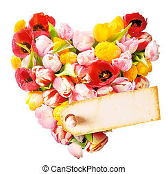 Floral heart with a blank gift tag