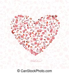 floral heart with birds and butterflies for your design. happy v
