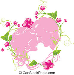 Floral heart with newly married