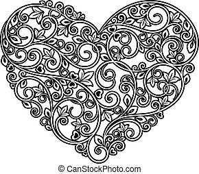 Floral heart with ornamental elements