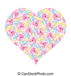 Floral heart with pink, blue and yellow watercolor flowers isolated on white background. Valentine's Day. Element for design of wedding cards, invitations