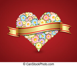 Floral heart with ribbon - Floral heart made of flowers with...