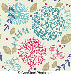 floral, hermoso, seamless, patrón