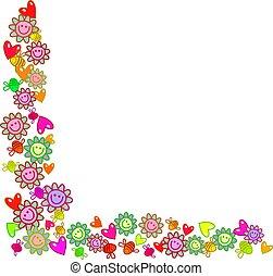 floral, hoek, grens
