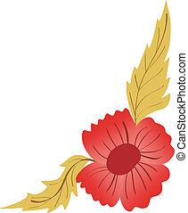 floral, hoek, ontwerp