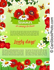 Floral holiday poster of summer flowers bouquet