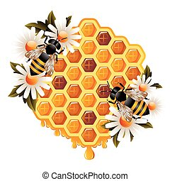 Honey concept representing honeycomb with oozing honey drops, flowers and working bees.