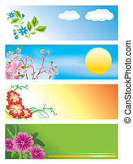 floral, horizontais, vetorial, bandeiras