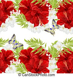 Floral horizontal border seamless background red hibiscus with jasmine and butterfly vector