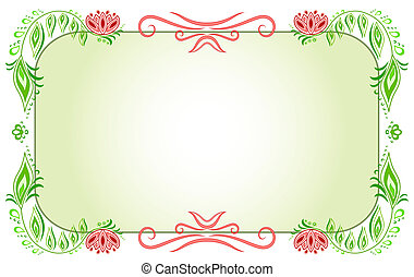 Floral horizontal green frame