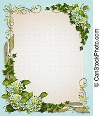 floral, hortensia, grens, klimop