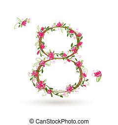 floral, huit, conception, nombre, ton