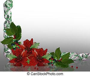 floral, hulst, grens, kerstmis