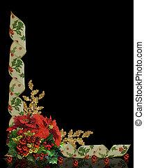 floral, hulst, grens, linten, kerstmis