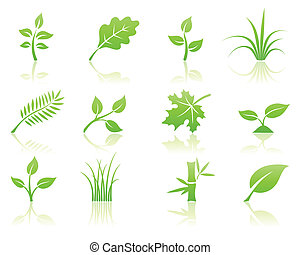 floral icon set - Vector illustration of green ecology...