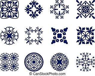 Floral Icons - A set of symmetrical geometric floral design ...