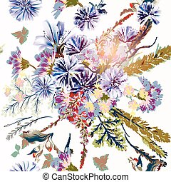 Floral illustration or pattern with field flowers in vintage...