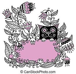 Floral illustration with a pink fra