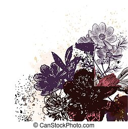 Floral illustration with peony and cosmos  flowers