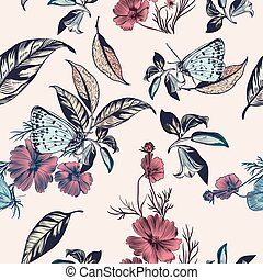 Floral illustration with vector hand drawn flowers and ...