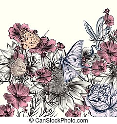 Floral illustration with vector hand drawn sunflower and cosmos flowers.eps