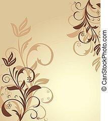 floral, ilustração, fundo