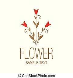 Floral image with stylized lilies or tulips. Vector Illustration.