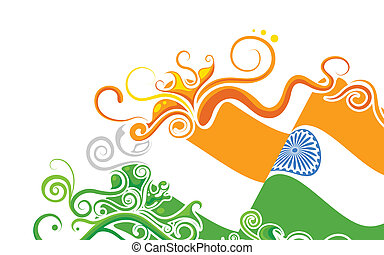 illustration of abstract floral Indian flag