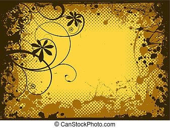 Floral ink grunge