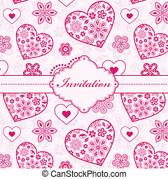 floral invitation card - Vector illustration of floral...