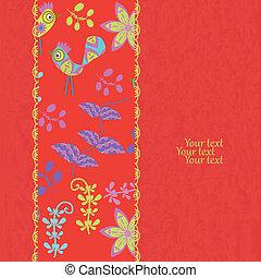 Floral invitation card on grunge background