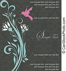 floral invitation card with bird - Wedding card or ...