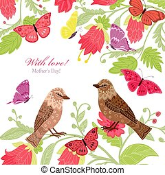 floral invitation card with couple of birds for your design