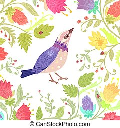floral invitation card with pretty bird for your design