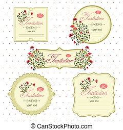 Floral invitation cards for an event. Vector image of invitation