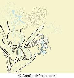 floral, iris, flores, plano de fondo