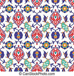 floral, islámico, patrón