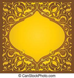 floral, islamic, versão, arte, ouro