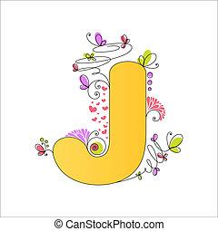 floral, j, alphabet., coloré, lettre