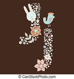 floral, j., clair, lettre, élément