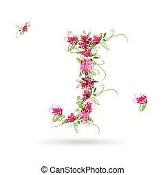 floral, j, conception, ton, lettre